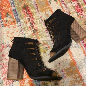 Black lace up open toe booties
